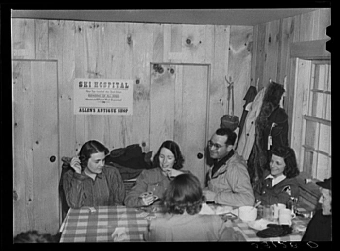 6.  Weekend skiers, often from New York, can get warm and dry and refreshments in a ski hut built by Clinton Gilbert, a farmer in Woodstock.