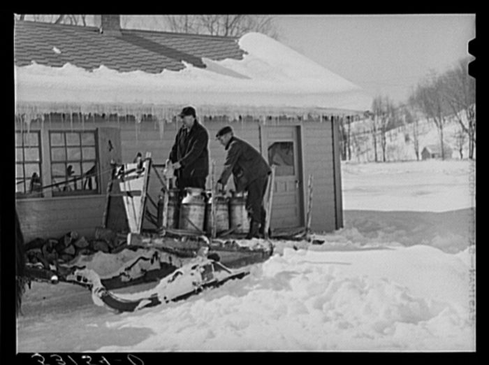 9.  Hauling water in milk cans after pipes have frozen.