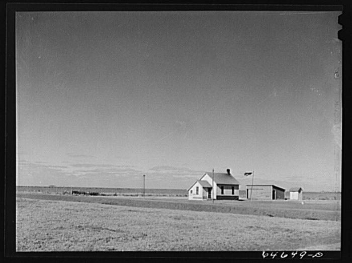 2. Lonely rural school out in Faulk County, South Dakota, 1942