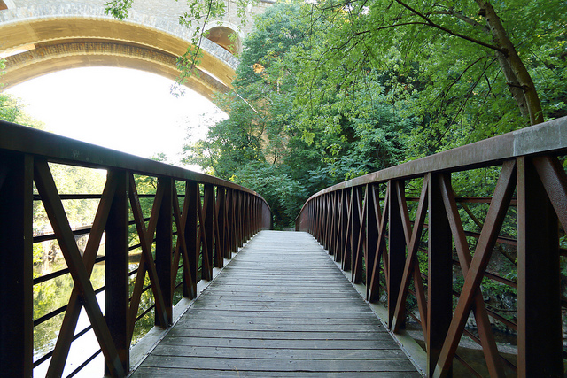Cross footbridges as you make the seven mile journey to the end of the trail at Lincoln Drive on the south side of Wissahickon Valley Park.