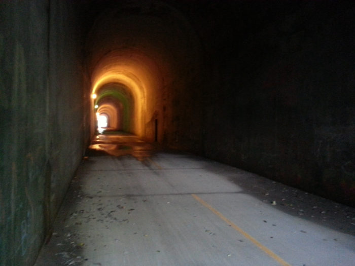 There are even a few tunnels that you can pass through, the same as the trains did back in the day.