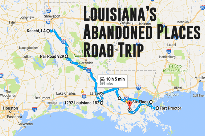 This road trip will take you down the middle of Louisiana, primarily down I-49.