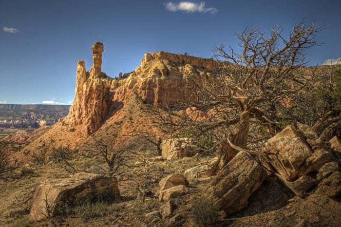 The Chimney Rock trail is roughly three miles long, round trip. This is a moderate route that climbs from 6,500 to 7,100 feet to this rock formation.