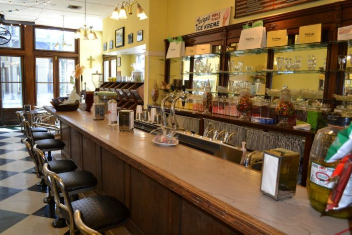 In addition to a variety of candies, Three Georges Candy Shop also has a full-service soda fountain where you can enjoy a delicious ice cream treat.