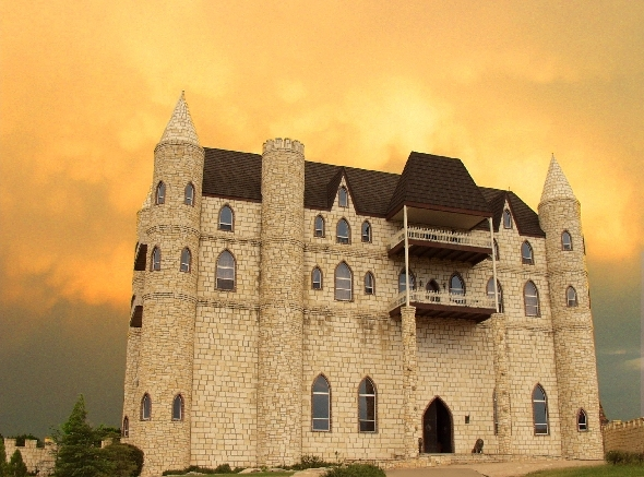 Hill Country sunsets provide an unbelievable backdrop for the Falkenstein Castle.