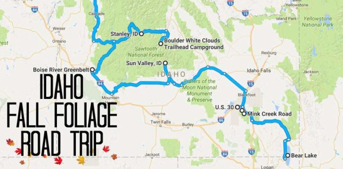 This lengthy autumn journey will take you all across Idaho's southern and western half.