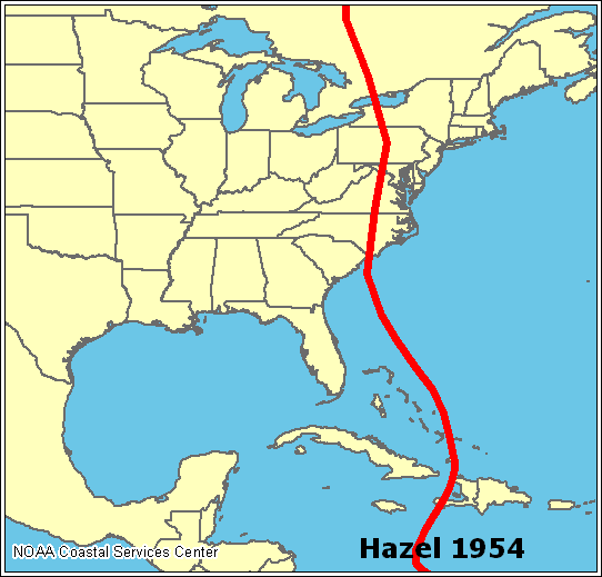 Below, you can see Hurricane Hazel's path from 1954.