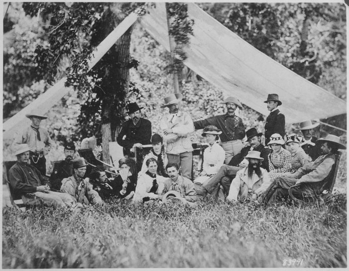 7. Lt. Col. George Custer (center) and his hunting party near Fort Abraham Lincoln, 1875.