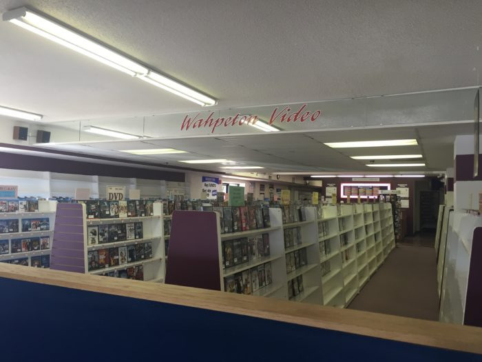 Inside, the video section is the first thing you see, still selling movies to this day.