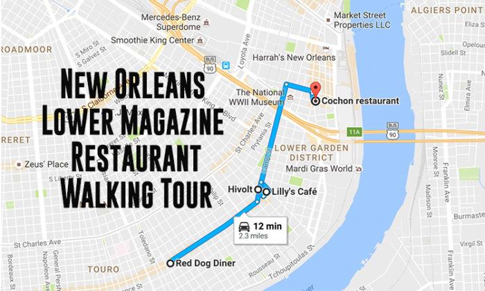Magazine Street New Orleans Map.Lower Magazine Restaurant Walking Tour Through New Orleans