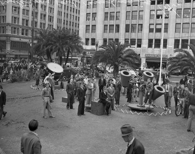 8. Pershing Square in Los Angeles photographed in 1941 with a listening post and air raid lights.