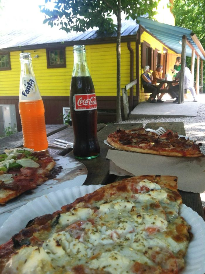 Pizza and soft drinks