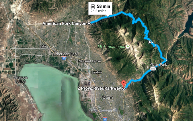 The Alpine Scenic Loop starts at the mouth of American Fork Canyon (UT Hwy 92) and ends at Provo Canyon (US 189).