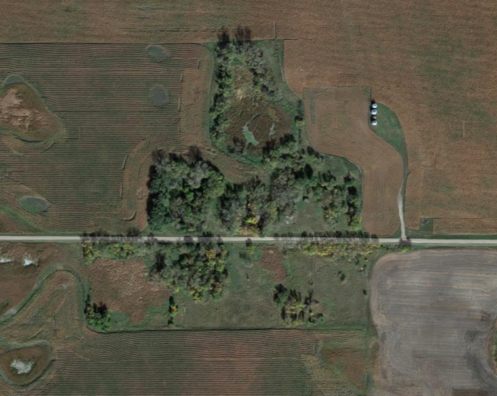 This overhead view shows just how small it was, and how overgrown it is now.