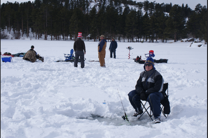 8. Some Wyomingites like to sit on a frozen lake for hours waiting for their dinner to bite.