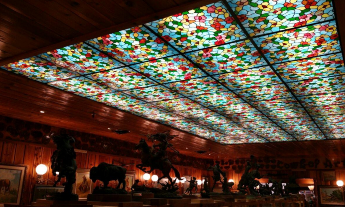 After you've seen all the touristy bits, make a stop by the cafe underneath this stunning stained glass ceiling.