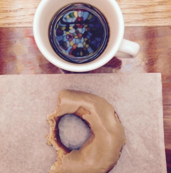 You can see the ceiling reflected in your 5 cent cup of coffee that they have been serving at Wall Drug for decades with a price that has never changed. Don't forget a fresh donut to go with it!