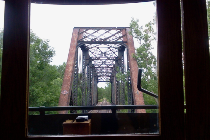 Crossing the bridge from inside the trolley... what a unique experience!