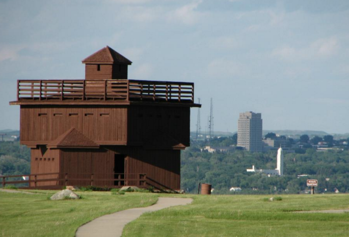 The main attraction, of course, is the fort itself and the military post, shown here with the North Dakota State Capital in the background.