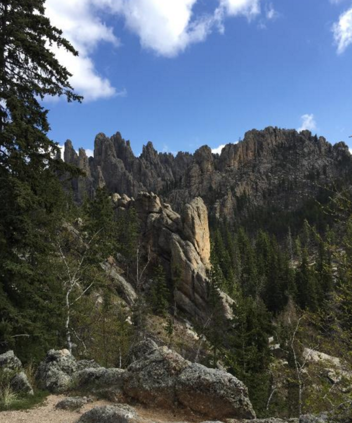 The trail takes you through the towering pines and even higher and more magnificent rock formations.
