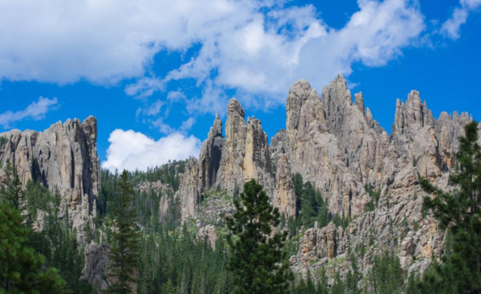 These rock formations are known as the Cathedral Spires, giving the trail the name Cathedral Spires Trail.