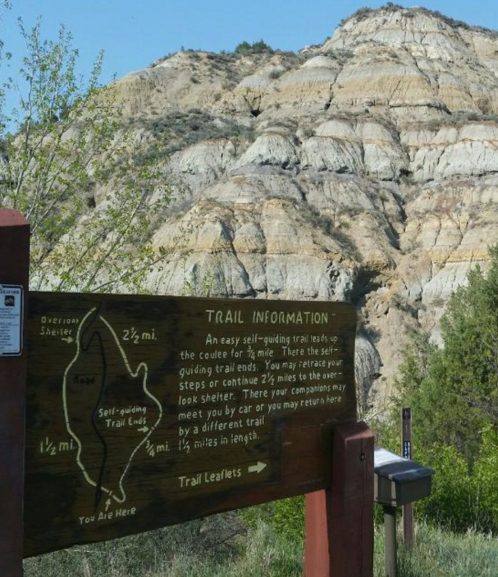 This wonderful trail is known as the Caprock-Coulee Trail, located in the North Unit of the Theodore Roosevelt National Park.