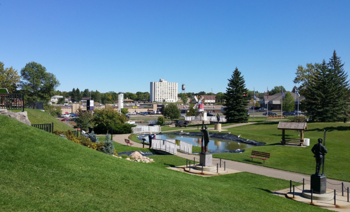 The park is located in a peaceful setting in Minot where you can take a pleasant stroll around the grounds to see everything there.