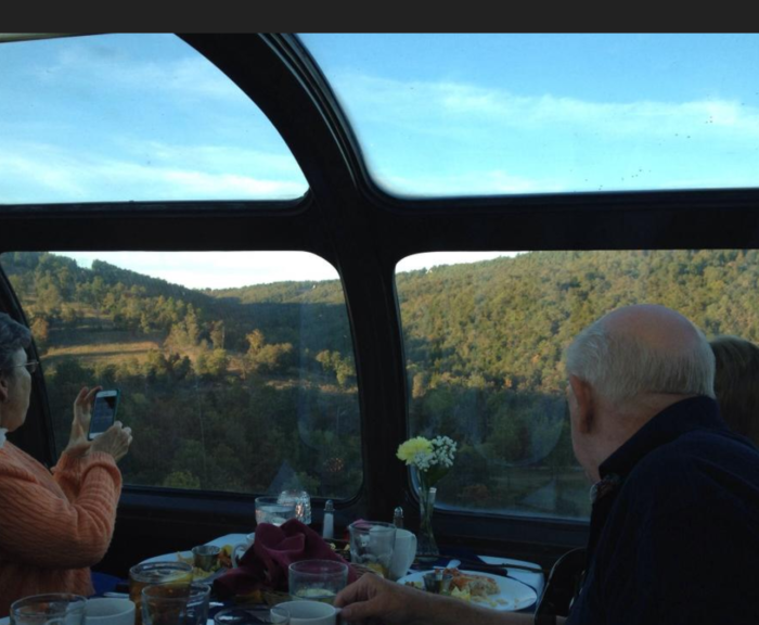 Hungry? Then grab a bite to eat in one of their fancy dining cars during a dinner ride. The big glass windows give you a great view of the Ozarks.
