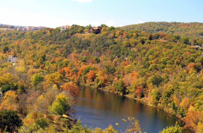 The 40-mile round trip takes you through the Ozarks with the north route going as far as the James River Valley and the south route taking you through Barren Fork Trestle in Arkansas.