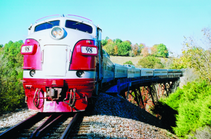 There really is no better way to take in fall than on this retro-looking, bright red train.