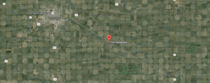 To be completely fair, The Speakeasy isn't miles away from everything. Holdrege, a city of about 5,500, is nearby. The next closest major city is Kearney, about 45 minutes away. But take a look at that map - that's pretty much the middle of nowhere, wouldn't you say?