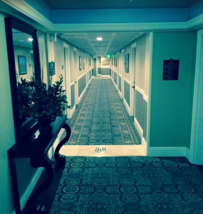On the eighth floor is the most haunted room, down this hallway.