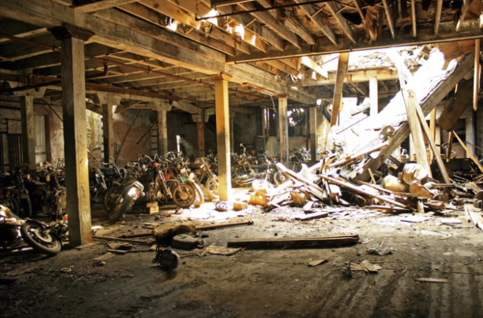 Overlooking the Erie Canal, the abandoned building full of motorcycles quickly started turning to rust.