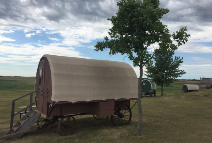 To get the full experience, stay overnight in your own tent or RV or one of their covered wagons or the bunkhouse.