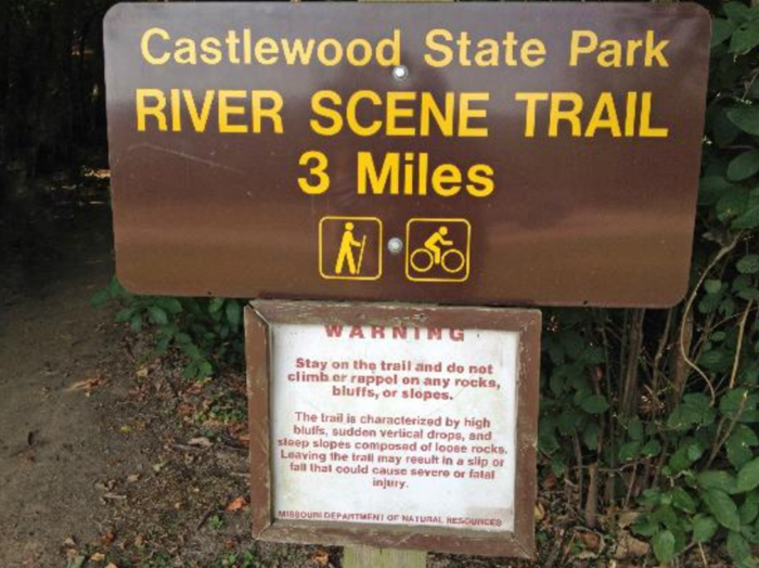 The River Scene Trail tends to be a favorite for its moderate difficulty rating and scenic views of the Meramec River.