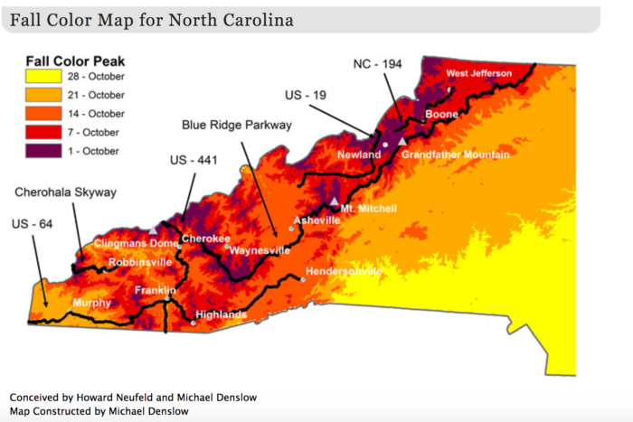 This Map Shows When And Where To View Fall Colors In North Carolina - Map in north carolina