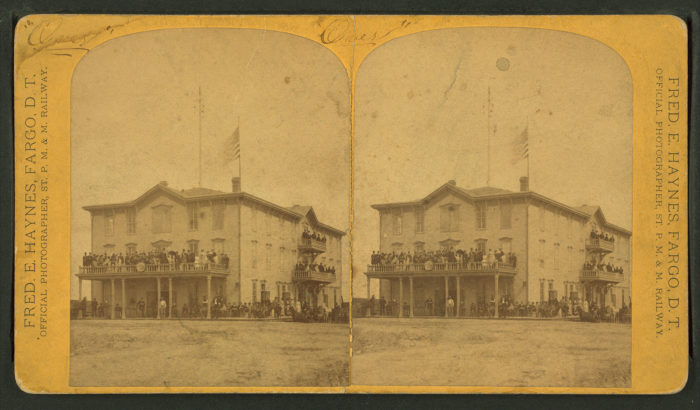 3. Crowds gather around the Grand Hotel in Hope, ND (Dakota Territory then) for a photograph in 1861.
