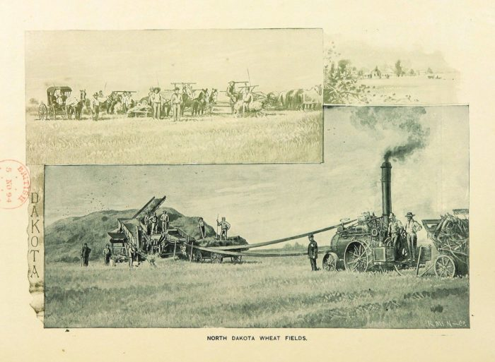 9. This postcard depicts the early threshing days in the wheat fields of North Dakota, from 1893.