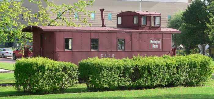 This old restored caboose, part of the Saunders County Historical Museum, is another callback to the town's railroad history.