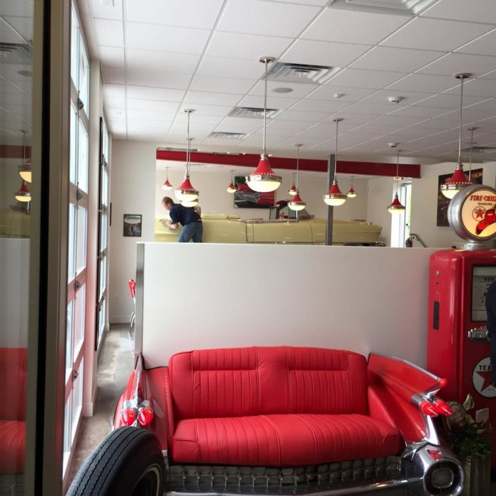 Everything inside the restaurant is re-purposed or inspired by cars or old garages.
