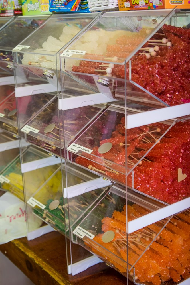 The presentation of the brightly colored candies in this store is enchanting to kids and adults alike.