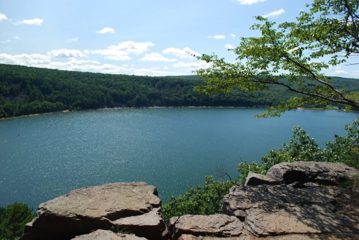 You get a stunning view of the lake from the 500 foot tall bluffs.