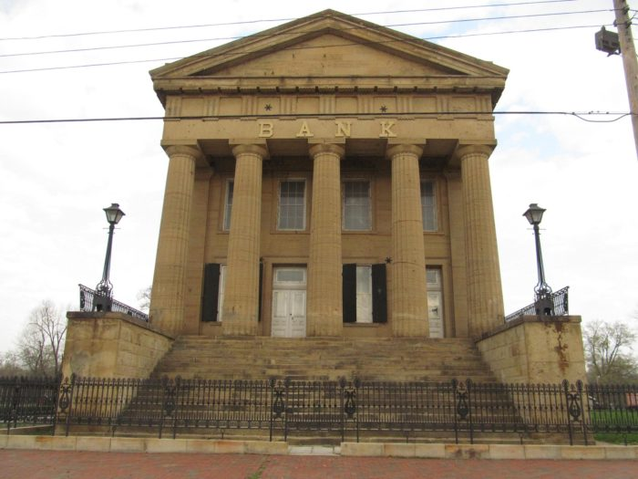 All that remains is that once famous bank, still stunning with its Greek revival style architecture.