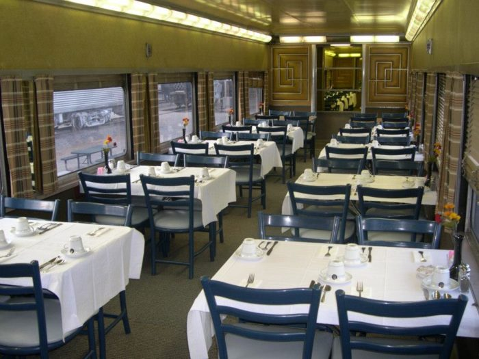Nicely appointed dining cars allow you to eat a nice dinner (or just pizza) while on the train.