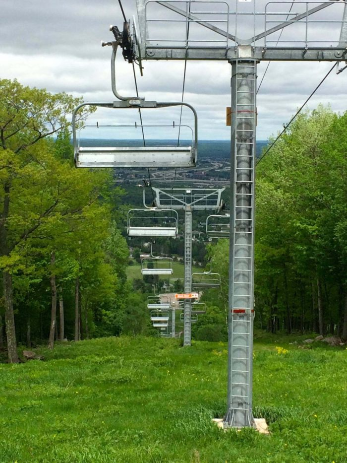On the north side of the mountain, there is an area for downhill skiing and snowboarding during the winter.