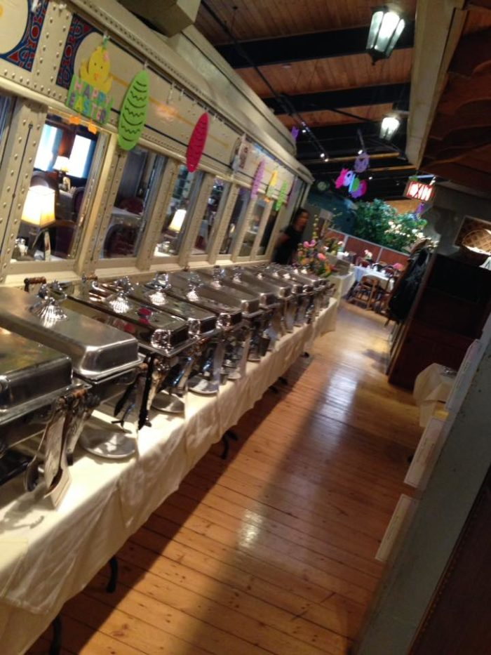 There also is a miniature train that runs through the restaurant on request.