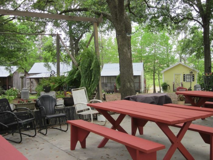 After a long day of exploring, there's an awesome deck to hang out with your new friends staying at the cabins.