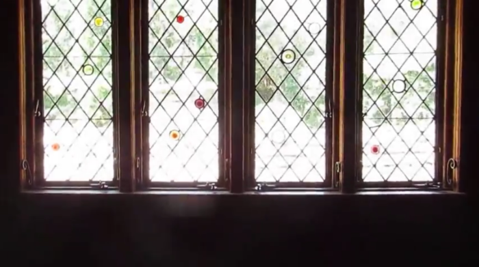 Cross-crossed patterns decorate the windows for a cottage-type feel...
