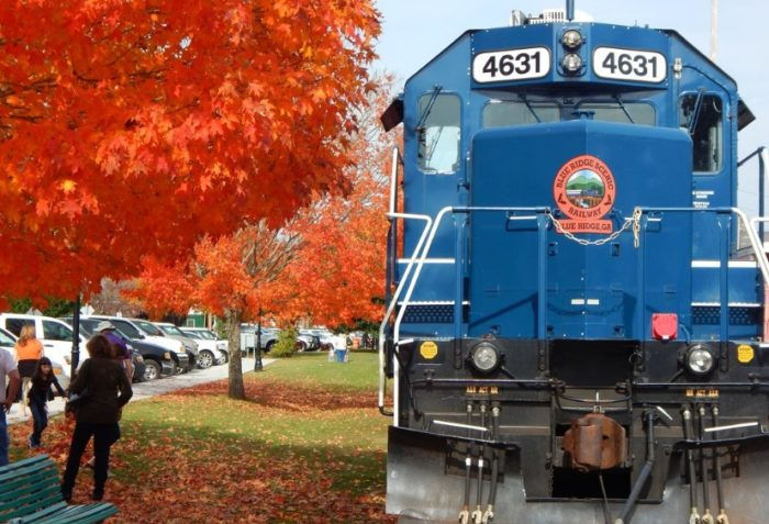 One of the most exciting things you can do during the fall season in Georgia is take a train ride through the beautiful mountains.