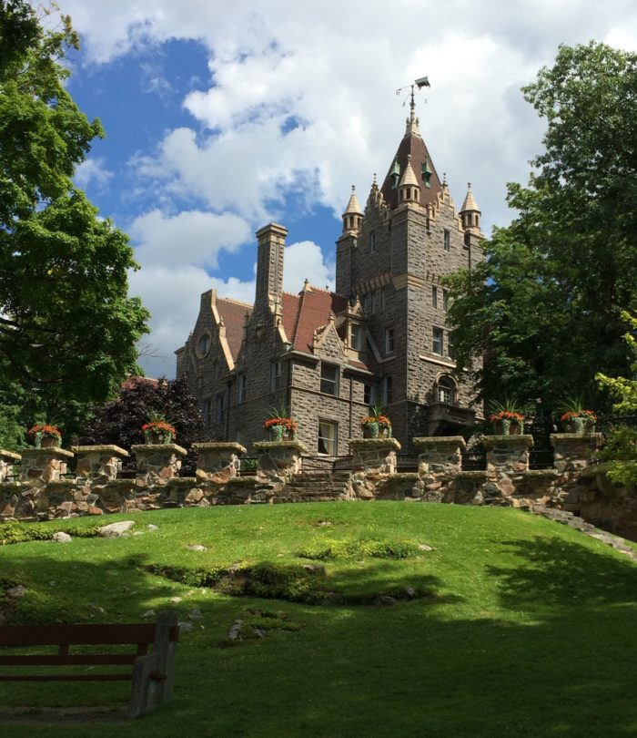 Hundreds of workers were involved in the original creation of Boldt Castle, a six story castle that has over one hundred rooms.